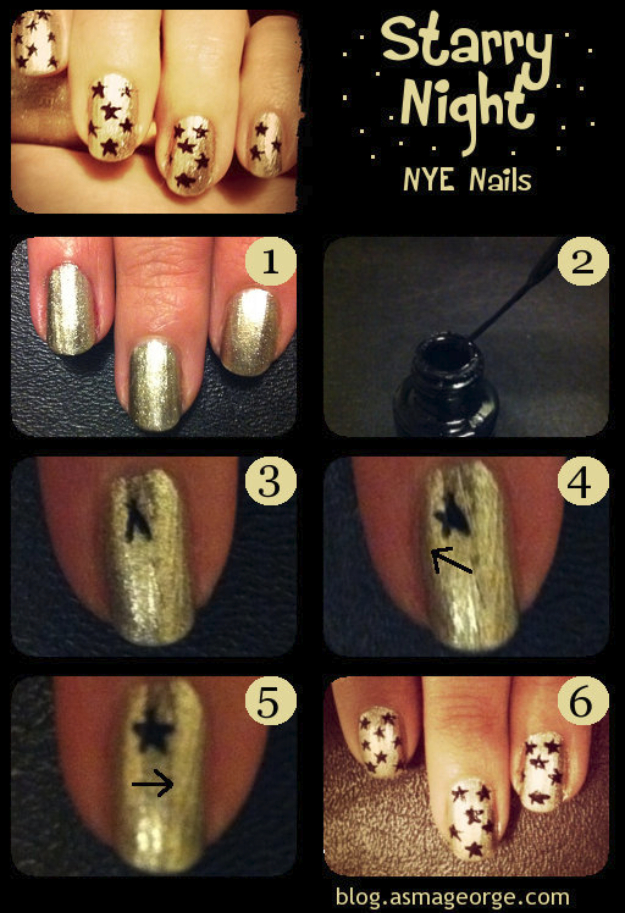 Cool Nail Art Ideas -Easy Starry Night Nail Polish Design Ideas- Candy Coat Stars and Stripes Nail Design Tutorial - Easy Nail Art Tutorials - Fun and Easy DIY Nail Designs - Step By Step Tutorials and Instructions for Manicures at Home