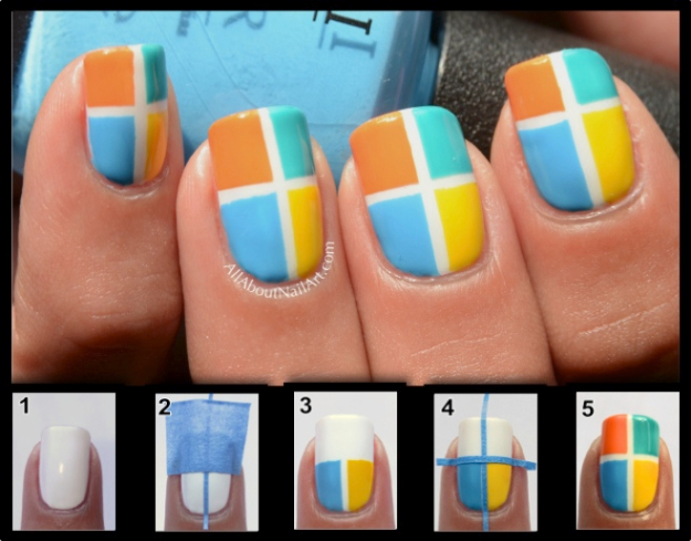 Cool Nail Art Ideas -Candy Block Geometric Nail Art Design - Candy Coat Stars and Stripes Nail Design Tutorial - Easy Nail Art Tutorials - Fun and Easy DIY Nail Designs - Step By Step Tutorials and Instructions for Manicures at Home