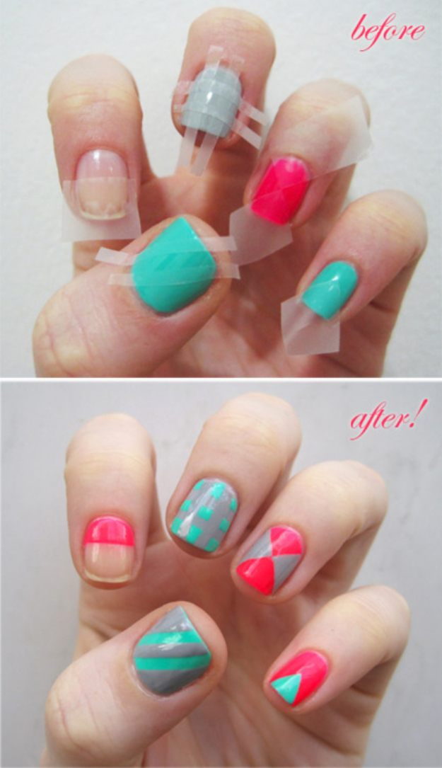 Cool Nail Art Ideas -Colorblock Nails With Scotch Tape- Easy Nail Art Tutorials - Fun and Easy DIY Nail Designs - Step By Step Tutorials and Instructions for Manicures at Home