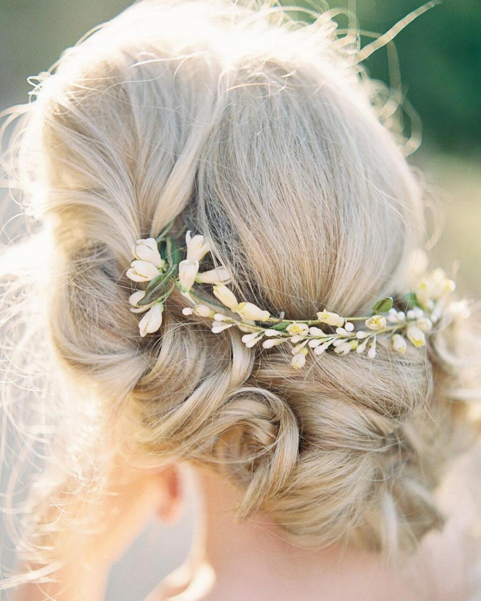 curly hair bridal updo