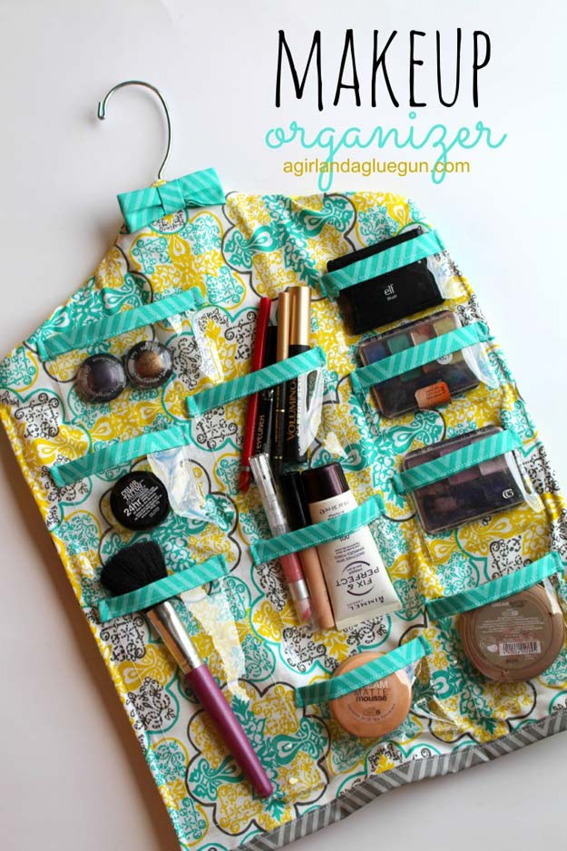 DIY Makeup Organizing Ideas - Hanging Makeup Organizer - Projects for Makeup Drawer, Box, Storage, Jars and Wall Displays - Cheap Dollar Tree Ideas with Cardboard and Shoebox - Wood Organizers, Tray and Travel Carriers http://diyprojectsforteens.com/diy-makeup-organizing