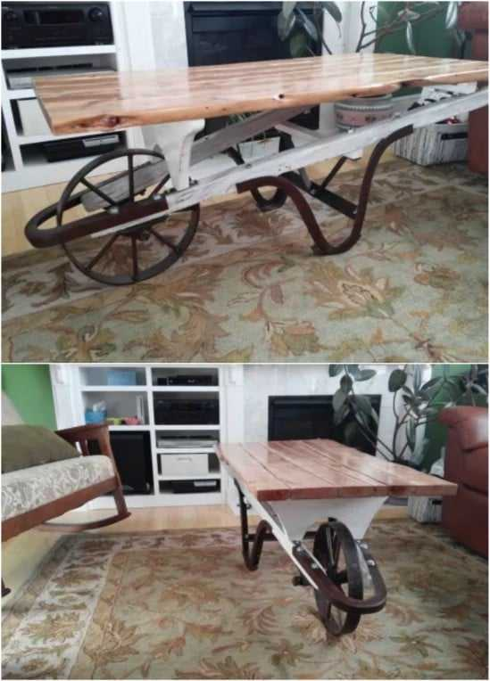 DIY Repurposed Wheelbarrow Coffee Table