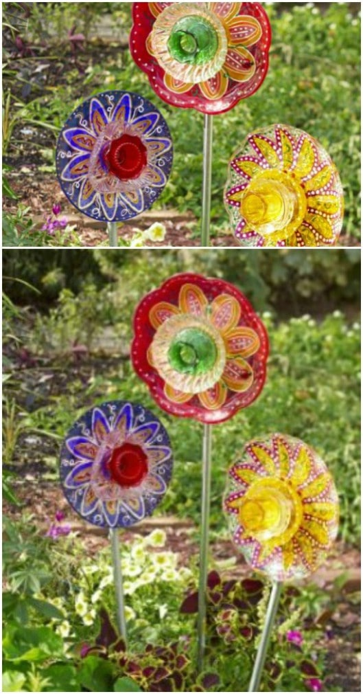 Repurposed Plate Stained Glass Flowers
