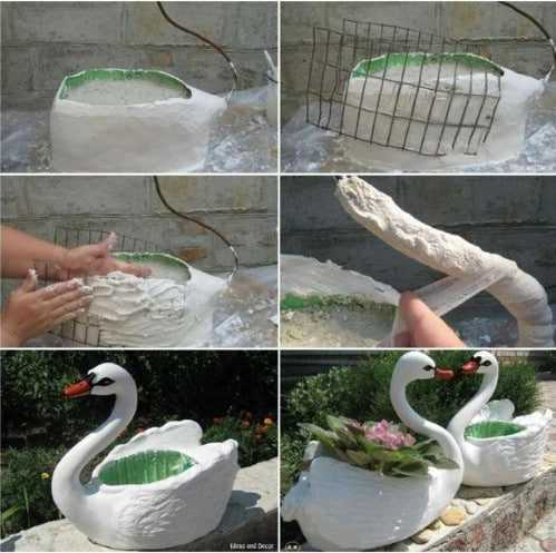Upcycled Plastic Bottle Garden Geese