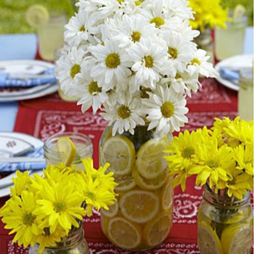 Lovely Lemon Vase Centerpiece