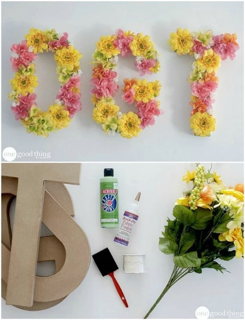 DIY Floral Letters Wall Art