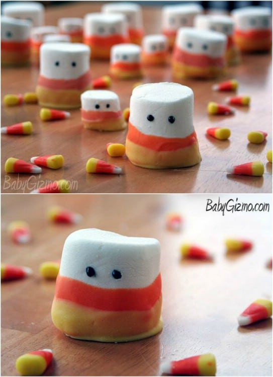 DIY Marshmallow Candy Corn Ghosts
