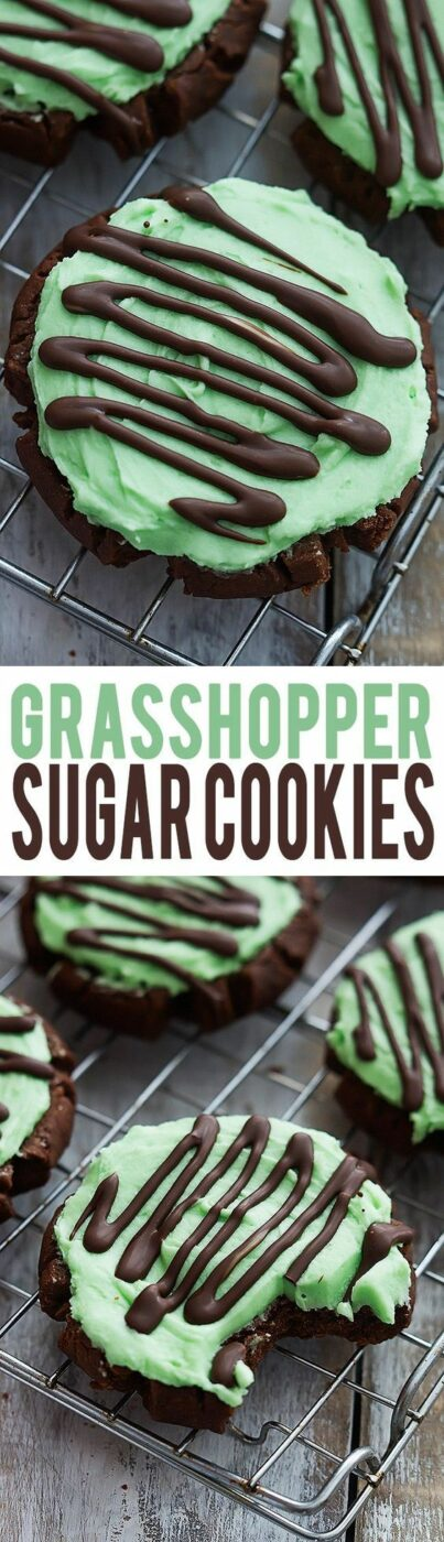 Grasshopper Sugar Cookies Recipe via Creme De La Crumb- moist chocolate sugar cookies with fluffy mint frosting, topped with Andes mint chocolate drizzle! #easystpatricksdaydesserts #stpatricksday #stpatricksdayparty #stpatricksdaypartyfood #lucky #luckygreen #luckytreats #shamrocks #clovers #rainbowtreats