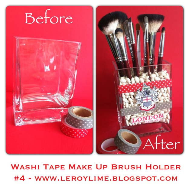 DIY Makeup Organizing Ideas - Washi Tape Makeup Brush Holder - Projects for Makeup Drawer, Box, Storage, Jars and Wall Displays - Cheap Dollar Tree Ideas with Cardboard and Shoebox - Wood Organizers, Tray and Travel Carriers http://diyprojectsforteens.com/diy-makeup-organizing