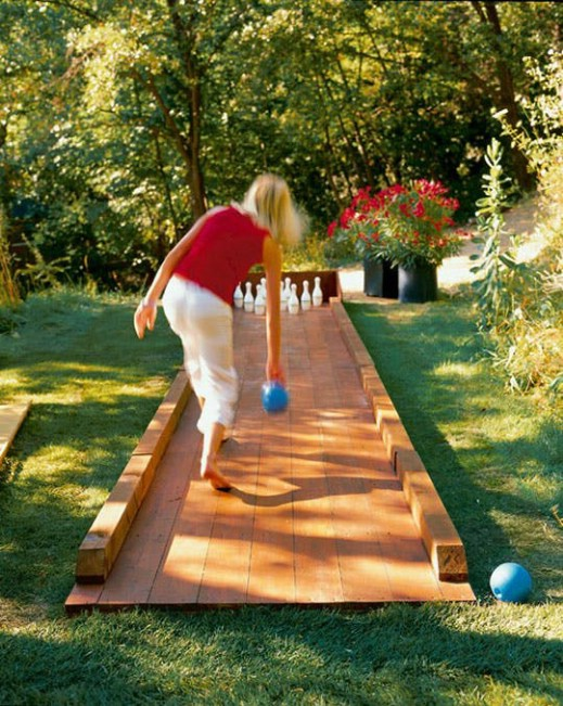 DIY Repurposed Flooring Bowling Alley