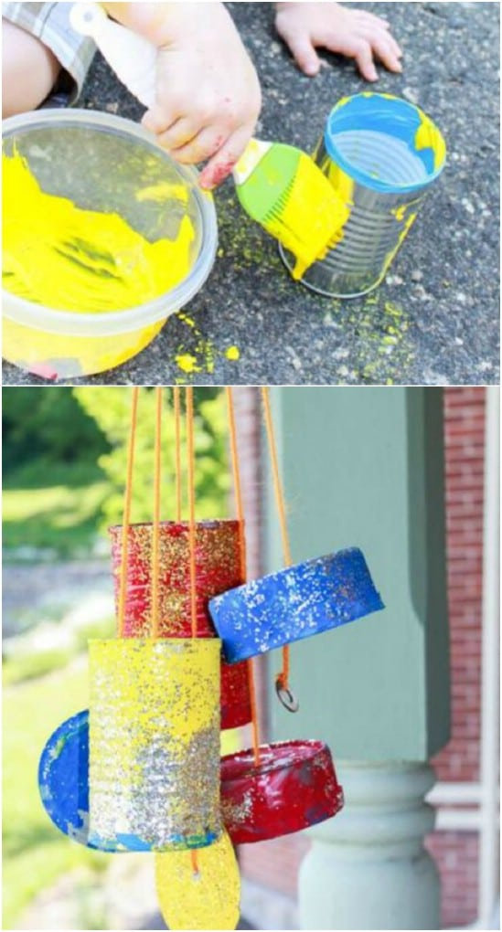 Colorful DIY Tin Can Windchime