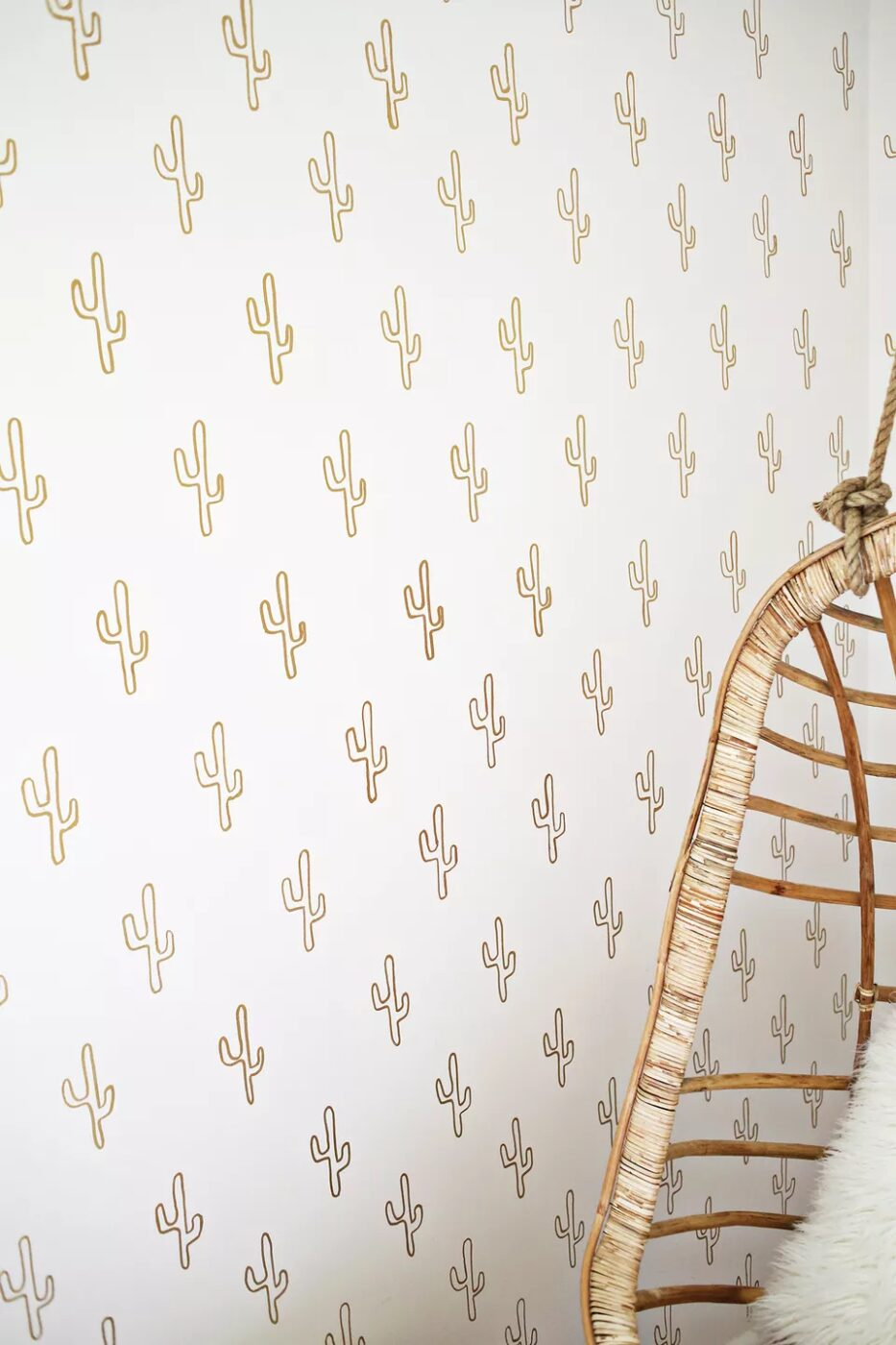 DIY Gold Cactus Wallpaper