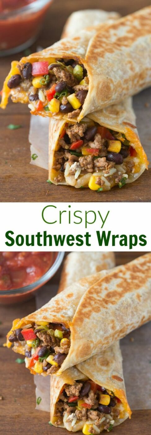 "Crispy Southwest Wraps Recipe via Tastes Better From Scratch - These ""are one of our go-to, easy meals. They take less than 30-minutes and my family loves them!"" - The BEST 30 Minute Meals Recipes - Easy, Quick and Delicious Family Friendly Lunch and Dinner Ideas #30minutemeals #30minutedinners #thirtyminutedinners #30minuterecipes #fastrecipes #easyrecipes #quickrecipes #mealprep"