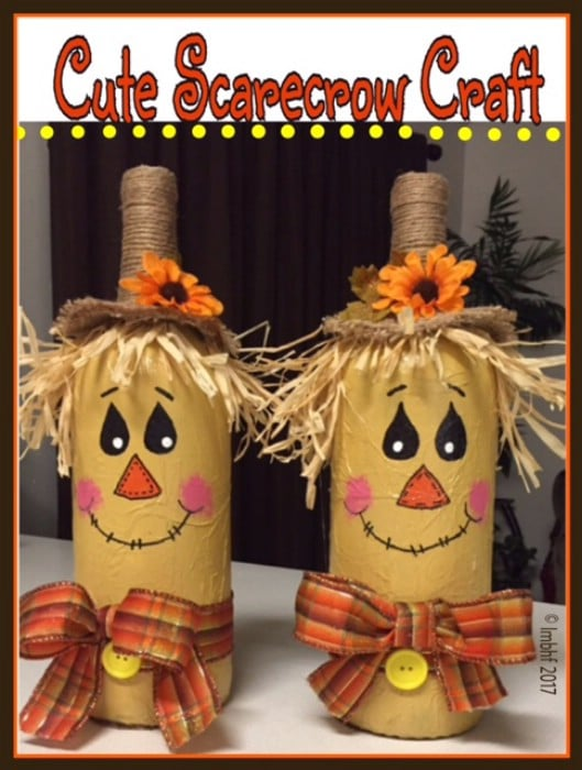 Repurposed Bottle Scarecrow Craft