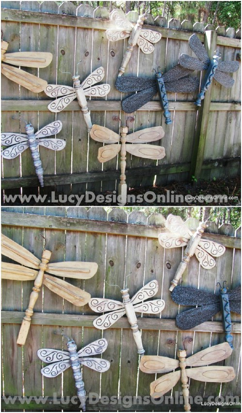Upcycled Table Leg Dragonflies
