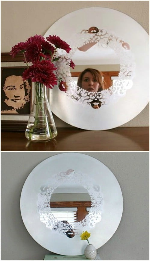 DIY Frosted Glass Doily Mirror
