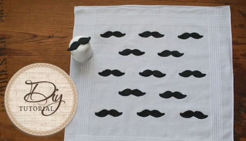 Whimsical DIY Stamped Mustache Handkerchief