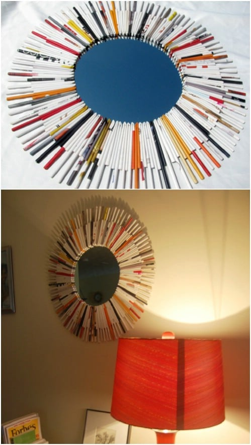 Recycled Magazine Page Mirror