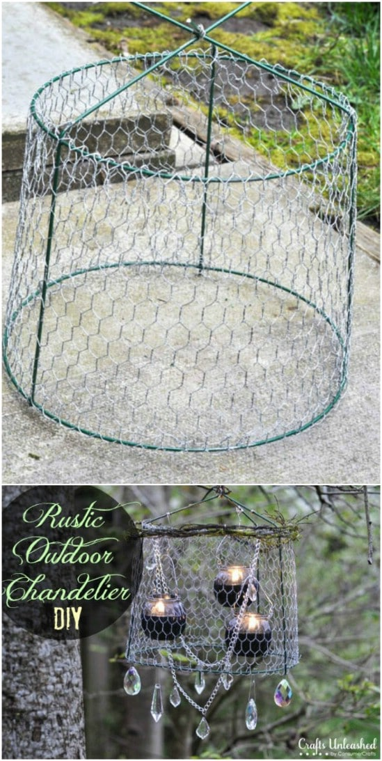 Repurposed Tomato Cage Outdoor Chandelier