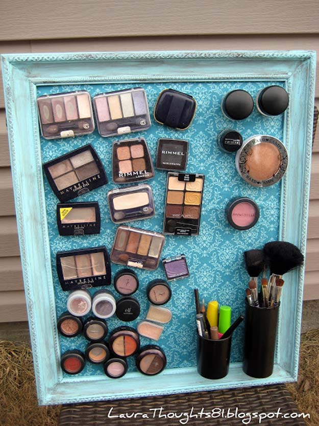 DIY Makeup Organizing Ideas - Make-up Magnet Board - Projects for Makeup Drawer, Box, Storage, Jars and Wall Displays - Cheap Dollar Tree Ideas with Cardboard and Shoebox - Wood Organizers, Tray and Travel Carriers http://diyprojectsforteens.com/diy-makeup-organizing