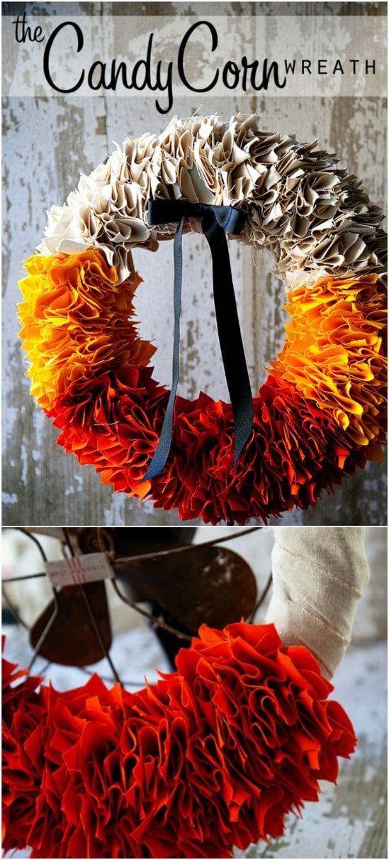 Perfect Fall Colored Candy Corn Wreath