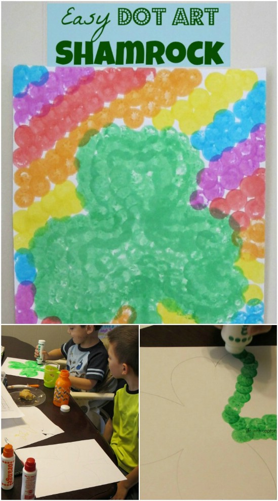 Easy And Colorful Dot Art Shamrock