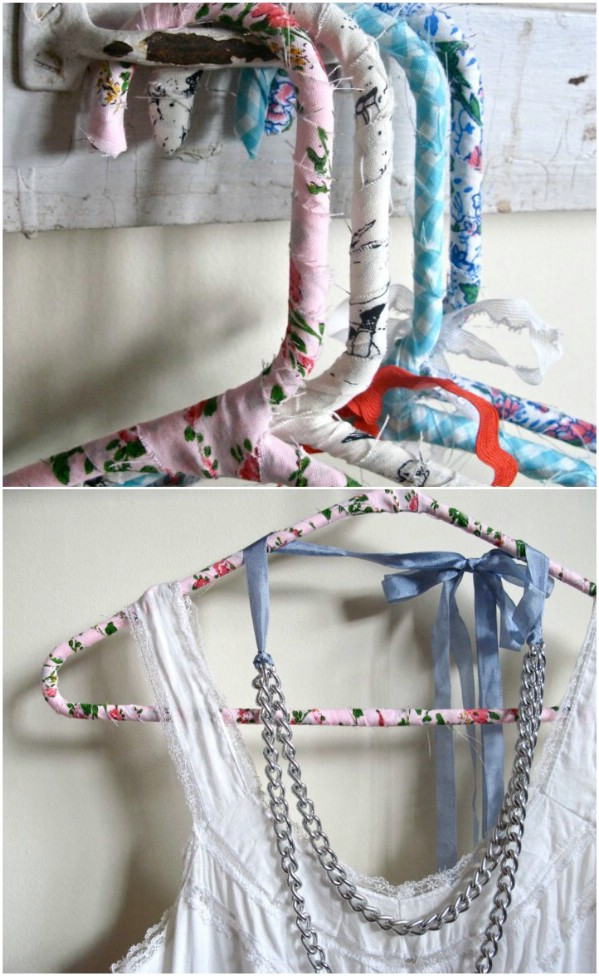 Repurposed Sheets Into Fabric Covered Hangers