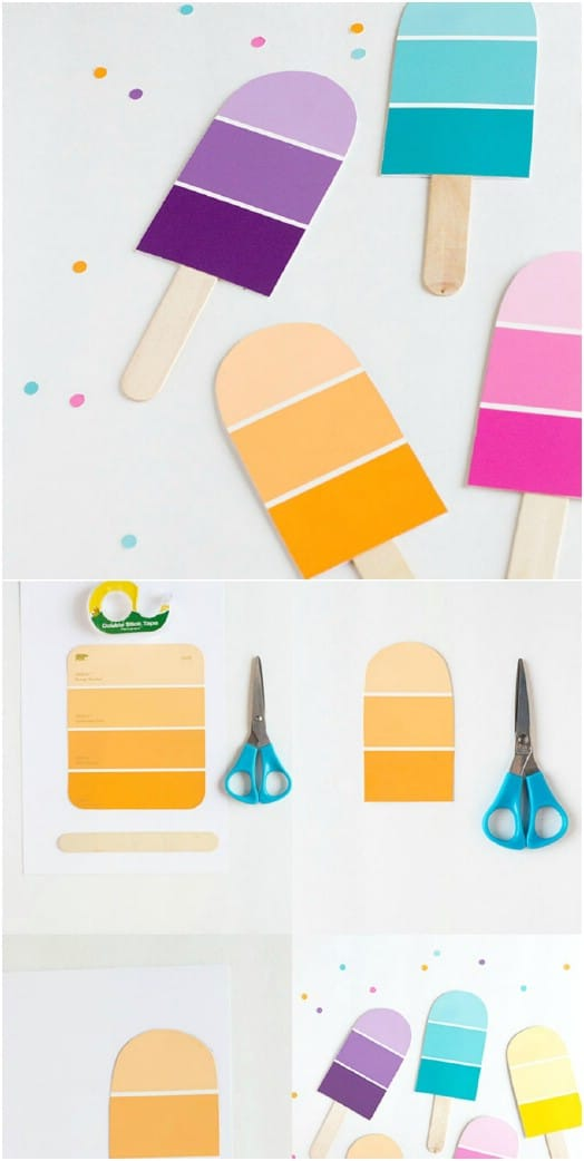 DIY Paint Chip Popsicle Party Invitations