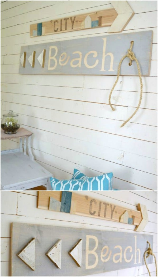 Scrap Wood Beach Signs