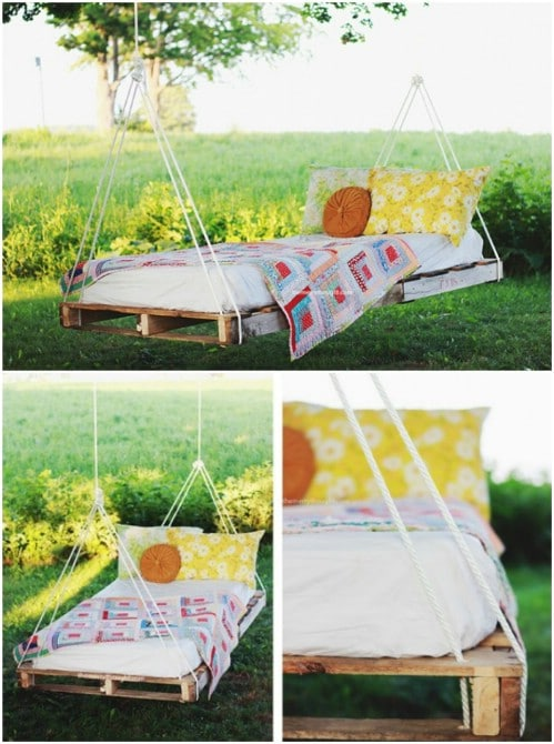 DIY Swinging Pallet Bed