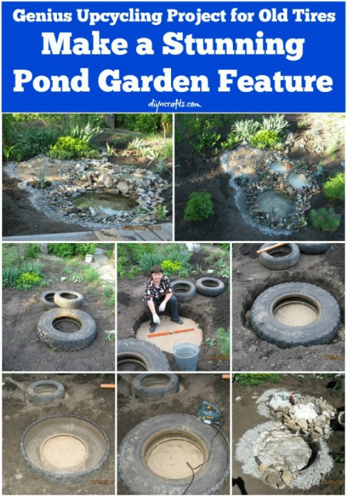 DIY Recycled Tractor Tire Pond