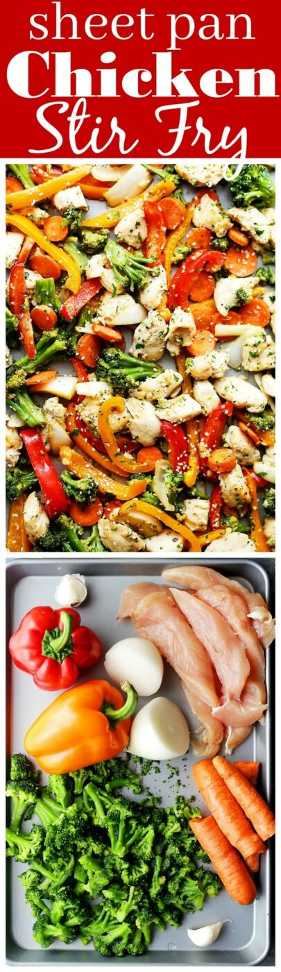 "30 Minute Sheet Pan Chicken ""Stir Fry"" Recipe via Diethood - Just one pan and 30 minutes is all you will need to make this amazing meal! Skip the wok and make this quick and healthy chicken stir fry dinner in the oven! - The BEST 30 Minute Meals Recipes - Easy, Quick and Delicious Family Friendly Lunch and Dinner Ideas #30minutemeals #30minutedinners #thirtyminutedinners #30minuterecipes #fastrecipes #easyrecipes #quickrecipes #mealprep"