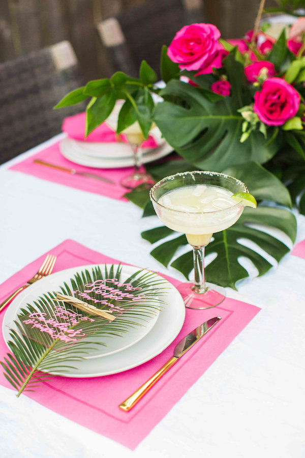 tropical place setting with margarita