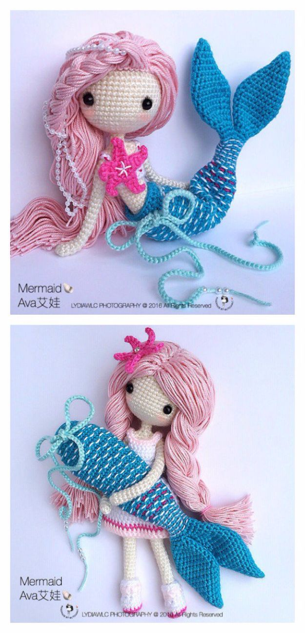 DIY Mermaid Crafts - Amigurumi Mermaid - How To Make Room Decorations, Art Projects, Jewelry, and Makeup For Kids, Teens and Teenagers - Mermaid Costume Tutorials - Fun Clothes, Pillow Projects, Mermaid Tail Tutorial http://diyprojectsforteens.com/diy-mermaid-crafts