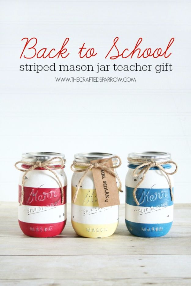 DIY School Supplies - Back To School Mason Jar Teacher Gift - Easy Crafts and Do It Yourself Ideas for Back To School - Pencils, Notebooks, Backpacks and Fun Gear for Going Back To Class - Creative DIY Projects for Cheap School Supplies - Cute Crafts for Teens and Kids http://diyprojectsforteens.com/diy-back-to-school-supplies
