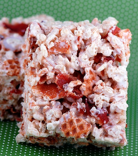 Bacon and Waffle Cone Rice Krispie Treats | 25+ Rice Krispie Treat Ideas