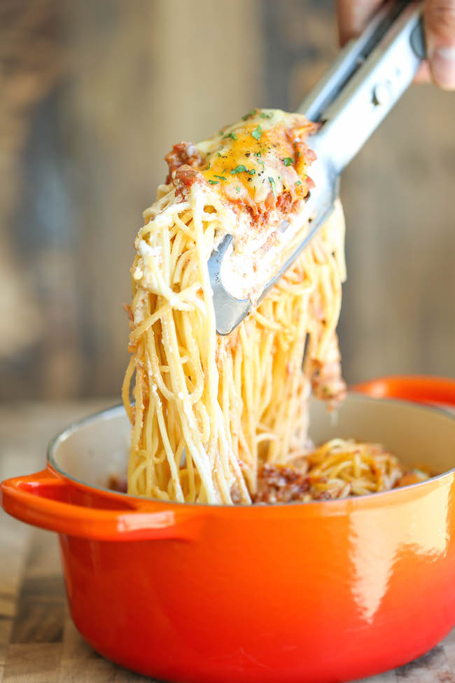 Baked Cream Cheese Spaghetti | 25+ Cream Cheese Recipes