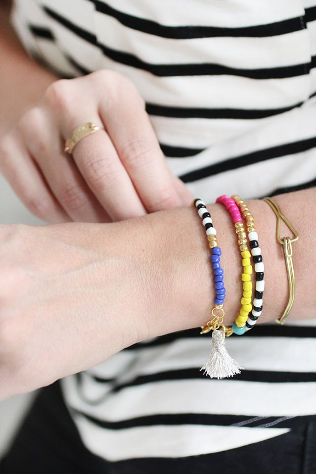 DIY Friendship Bracelets - Beaded Tassel Bracelets - Woven, Beaded, Leather and String - Cheap Embroidery Thread Ideas - DIY gifts for Teens