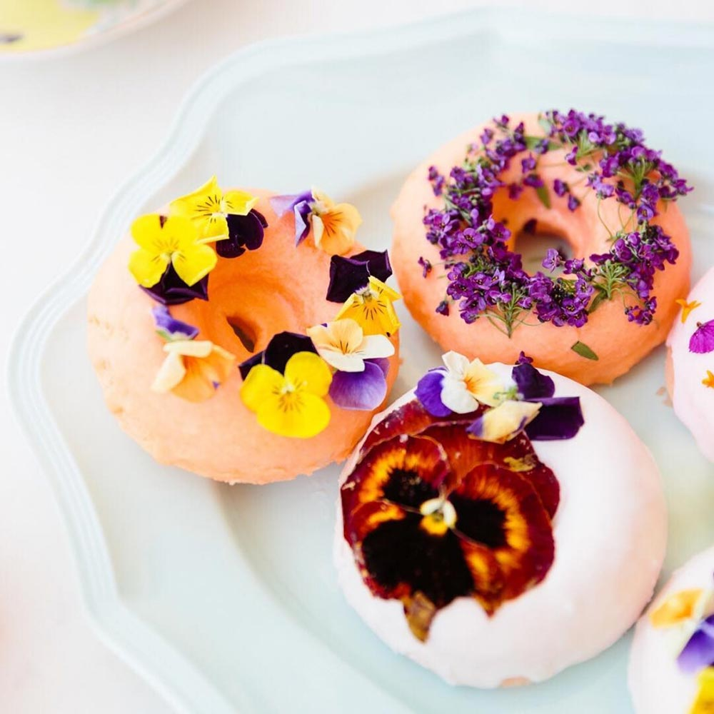 doughnuts with edible flowers