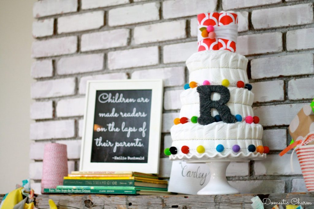 Book-Theme Diaper Cake