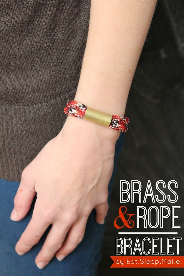 DIY Friendship Bracelets - Brass and Rope Bracelet - Woven, Beaded, Leather and String - Cheap Embroidery Thread Ideas - DIY gifts for Teens