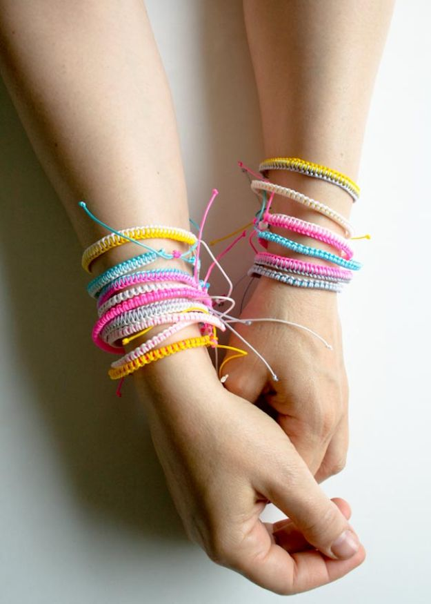 DIY Friendship Bracelets - Breezy Friendship Bracelets - Woven, Beaded, Leather and String - Cheap Embroidery Thread Ideas - DIY gifts for Teens