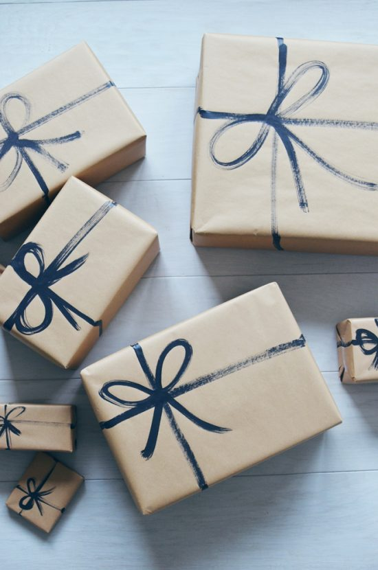 Brown Paper Bag with Painted Strings | 25+ Creative Gift Wrap Ideas