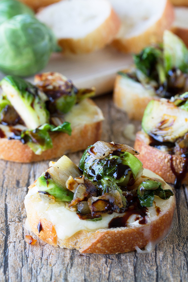 Brussel Sprout and Brie Bruschetta | 25+ Brussels Sprout Recipes