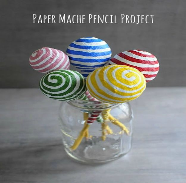 Creative Paper Mache Crafts - Bulbous Pencils Paper Mache - Easy DIY Ideas for Making Paper Mache Projects - Cool Newspaper and Paper Bag Craft Tips - Recipe for for How To Make Homemade Paper Mashe paste - Halloween Masks and Costume Tutorials - Sculpture, Animals and Ideas for Kids http://diyprojectsforteens.com/paper-mache-crafts
