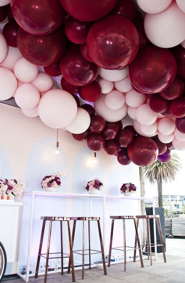 Burgundy Wedding Decor Balloons - Photography: My Little Company Photography