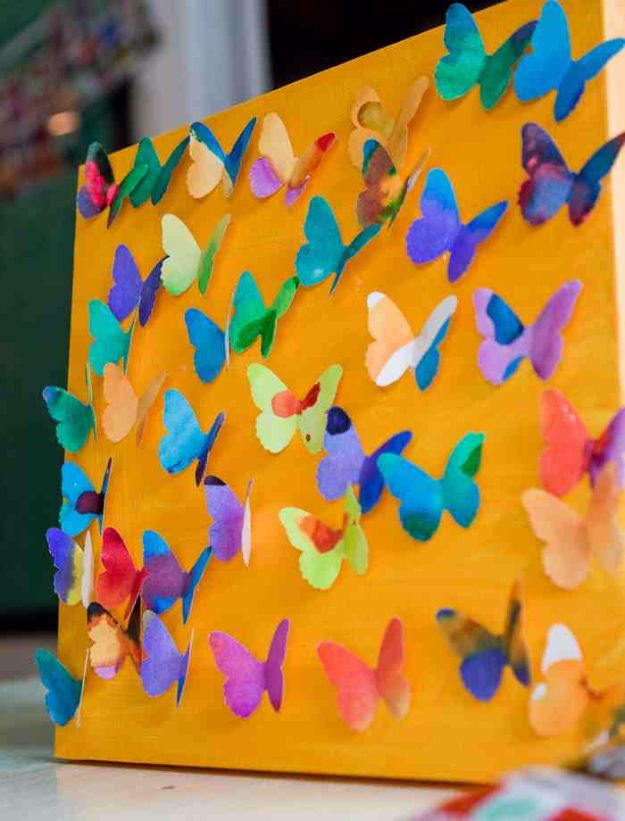 DIY Ideas With Butterflies - Butterfly Canvas - Cute and Easy DIY Projects for Butterfly Lovers - Wall and Home Decor Projects, Things To Make and Sell on Etsy - Quick Gifts to Make for Friends and Family - Homemade No Sew Projects- Fun Jewelry, Cool Clothes and Accessories http://diyprojectsforteens.com/diy-ideas-butterflies
