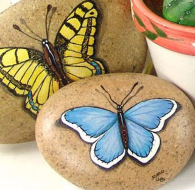DIY Ideas With Butterflies - Butterfly Painted Stones - Cute and Easy DIY Projects for Butterfly Lovers - Wall and Home Decor Projects, Things To Make and Sell on Etsy - Quick Gifts to Make for Friends and Family - Homemade No Sew Projects- Fun Jewelry, Cool Clothes and Accessories http://diyprojectsforteens.com/diy-ideas-butterflies