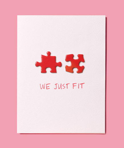 We fit | Puzzle Piece Valentine's Day card