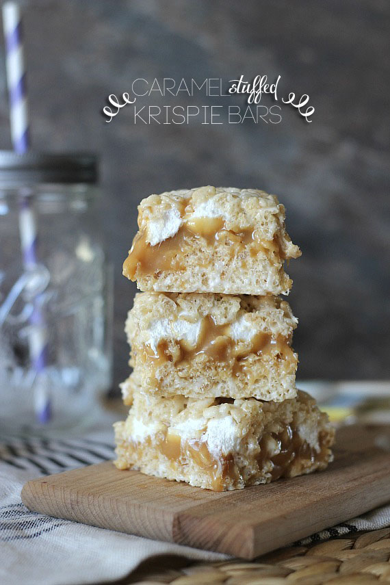 Caramel Stuffed Rice Krispie Treats | 25+ Rice Krispie Treat Ideas
